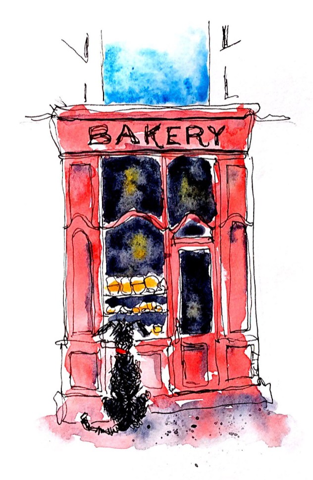 #WorldWatercolorGroup - Watercolor painting by Leonie Cheetham of bakery - #doodlewash