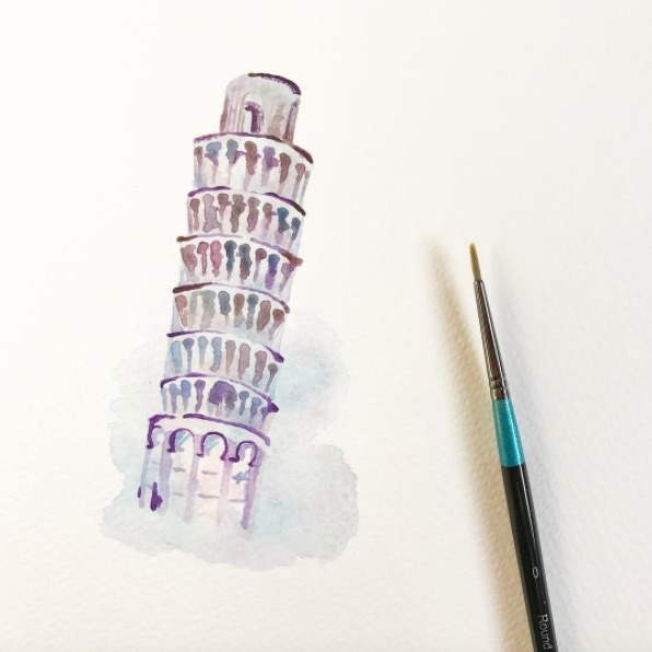 #WorldWatercolorGroup - Watercolor by Elizabeth Shana of Leaning Tower of Pisa - #doodlewash