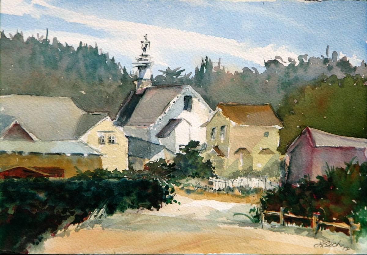 #WorldWatercolorGroup - Watercolor village by Leslie Rich - #doodlewash