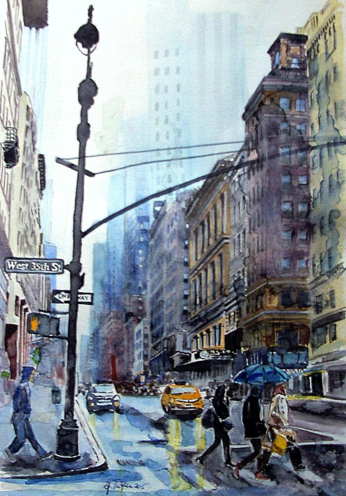 #WorldWatercolorGroup - Painting of New York street by Joaquim Tusch - #doodlewash
