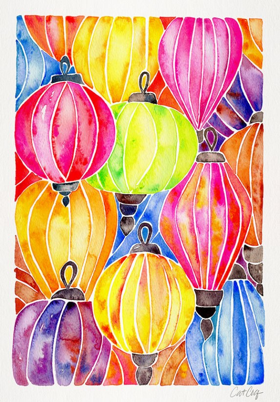 #WorldWatercolorGroup - Watercolor Art by Cat Coquillette - Rainbow Paper Lanterns - #doodlewash