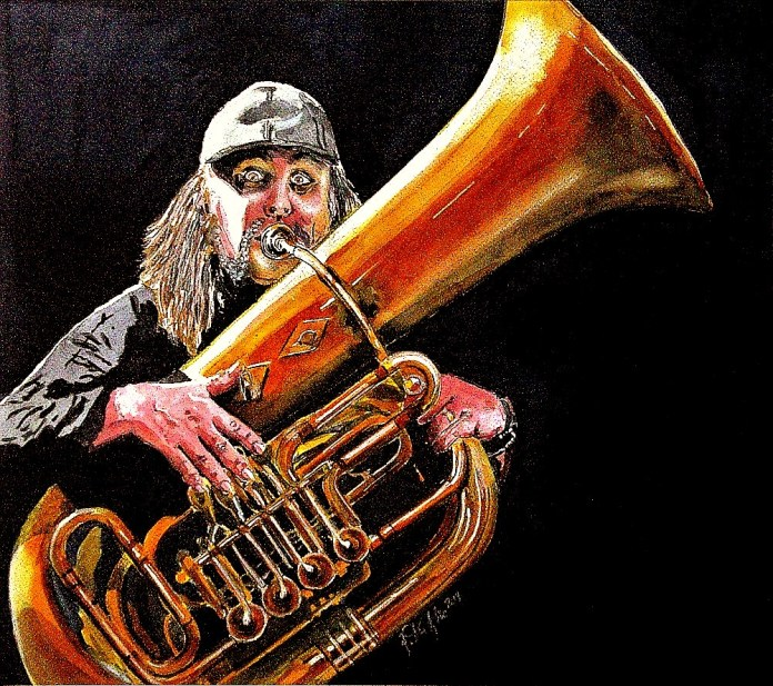 #WorldWatercolorGroup - Painting of tuba player by Joaquim Tusch - #doodlewash