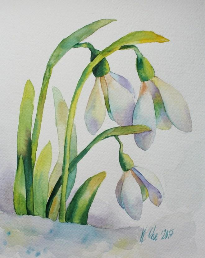 #WorldWatercolorGroup - Watercolor by Katiya Che of snowdrops - #doodlewash