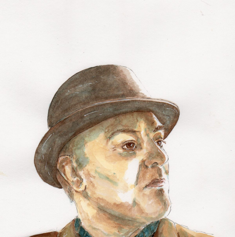 #WorldWatercolorGroup - Watercolor illustration by Patricia Mellett Brown - man wearing hat - #doodlewash