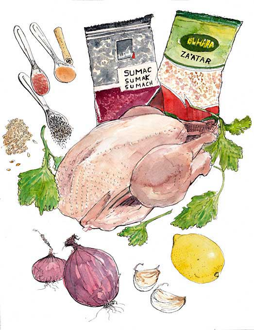 #WorldWatercolorGroup - Watercolor by Tim Soekkha of chicken ottolenghi - #doodlewash