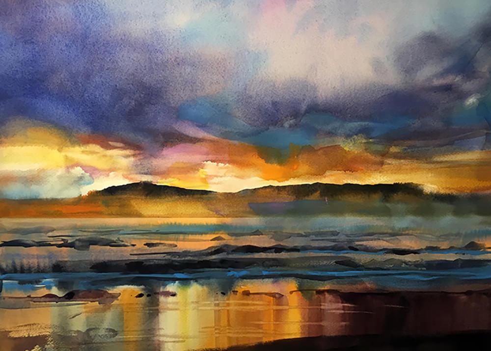 #WorldWatercolorGroup - Watercolor Painting by Joe Cibere - Daggies Beach - #doodlewash
