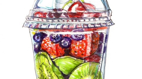 Day 10 - #WorldWatercolorGroup - Adult Fruit Cup Fruit Salad To Go - #doodlewash