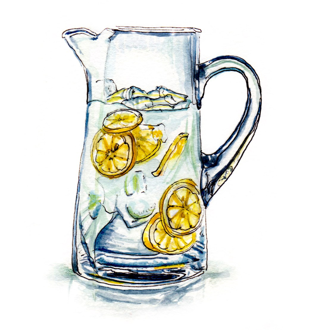 Day 11 - #WorldWatercolorGroup - Lemonade Stand Glass Pitcher of Lemonade Natural - #doodlewash