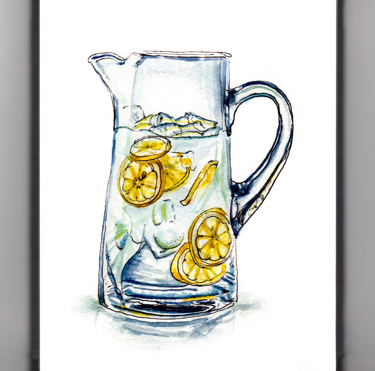 Day 11 - #WorldWatercolorGroup - Lemonade Stand Glass Pitcher of Lemonade Natural - #doodlewash