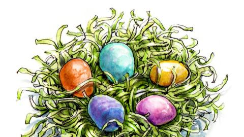 Day 15 - #WorldWatercolorGroup - Painting Easter Eggs - Dyed Easter Eggs on Grass - #doodlewash
