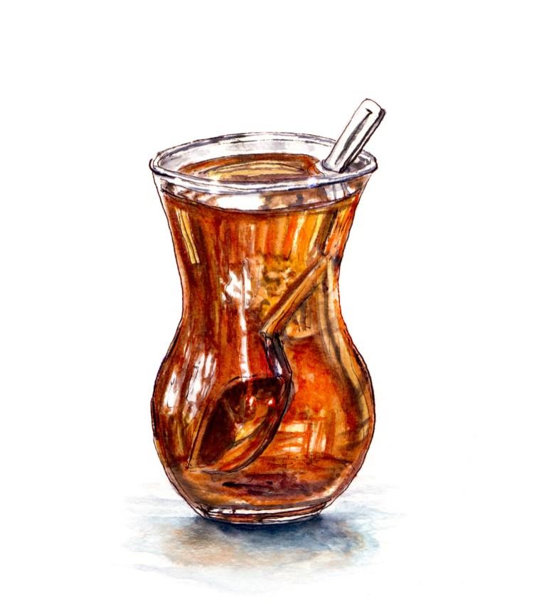 Day 18 - #WorldWatercolorGroup - Taking a Tea Break - Glass of Tea With Spoon Watercolour Sketch - #doodlewash