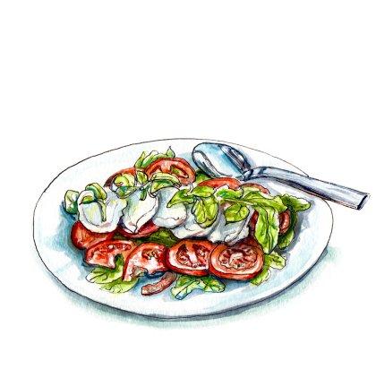 Day 19 - #WorldWatercolorGroup - Salad Season - Caprese Salad With Tomatoes Mozarella and Basil - #doodlewash