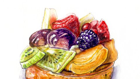 Day 24 - #WorldWatercolorGroup - Unexpected Surprises - Fruit Tart With Kiwi and Berries - #doodlewash