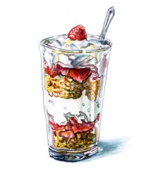Day 4 - #WorldWatercolorGroup Nesting With A Yogurt Parfait With Granola And Strawberries