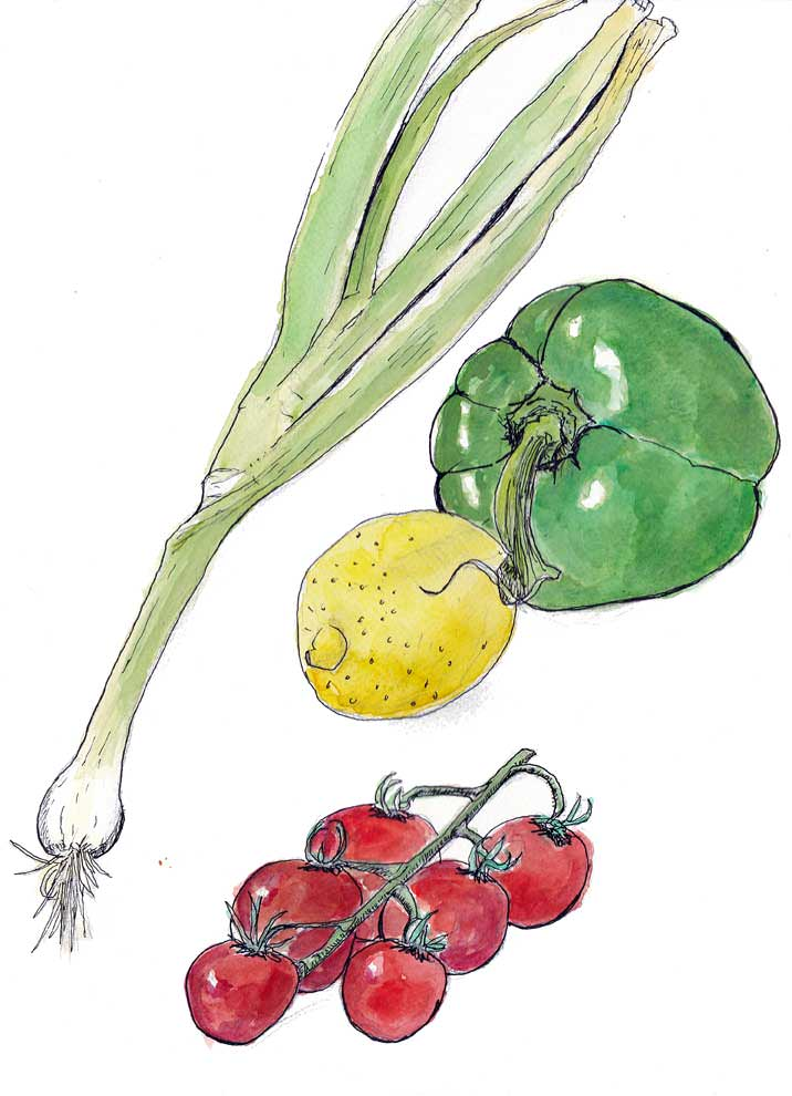 #WorldWatercolorGroup - Watercolor by Tim Soekkha of fruit and vegetables - #doodlewash