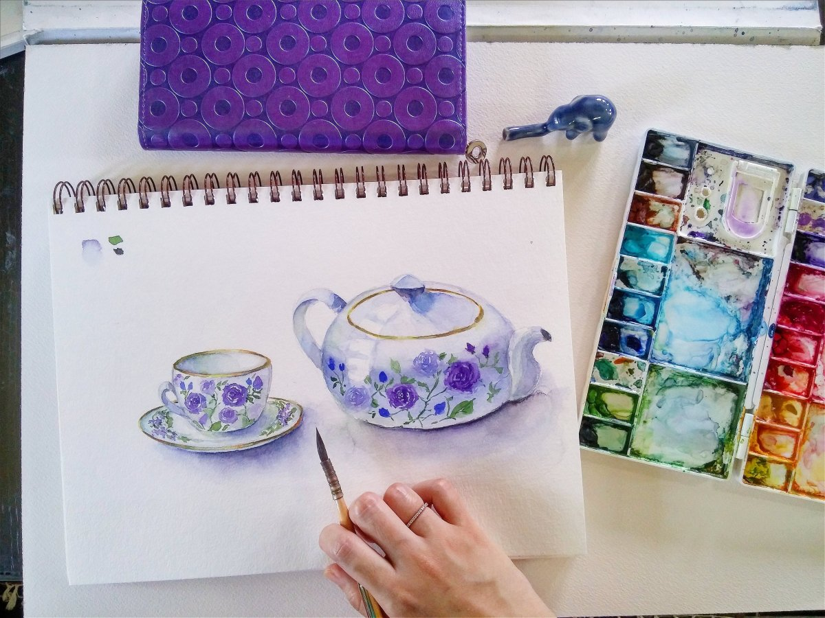 #WorldWatercolorGroup - watercolor teapot and cup by Cheryl Sun-Ong - #doodlewash