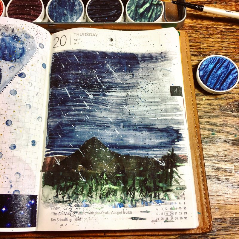 Boku-Undo E-Sumi Watercolor Paint 6 Colors Set watercolour box watercolor painting by jessica seacrest in a hobonichi techo planner, tomoe river paper