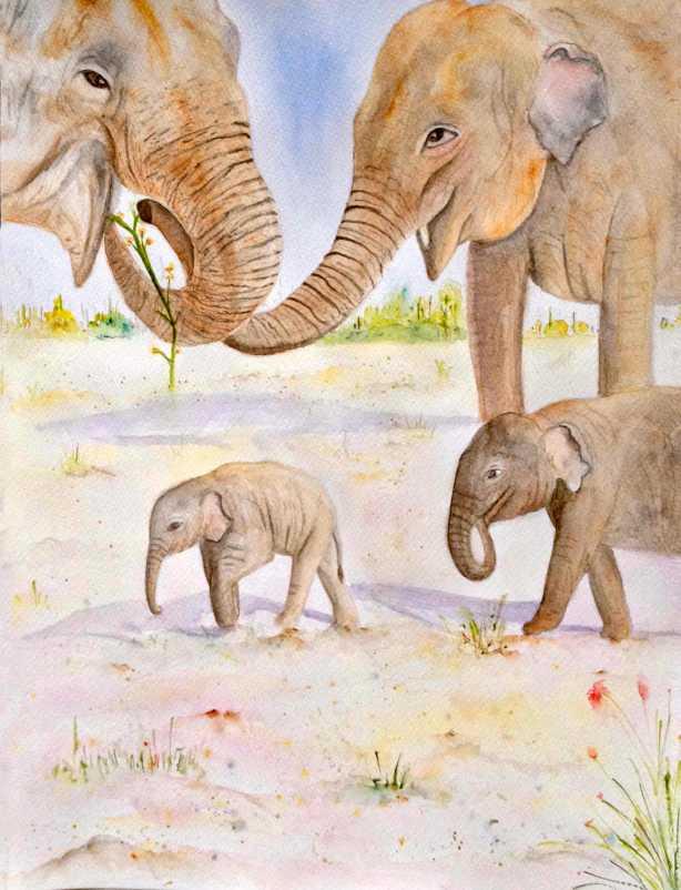 #WorldWatercolorGroup - Watercolor by Elisa Choi Ang - elephants and baby elephants - #doodlewash