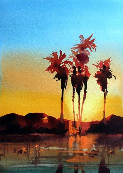 #WorldWatercolorGroup - Watercolor Painting by Joe Cibere - Palm Trees - #doodlewash
