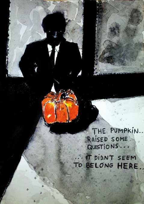 #WorldWatercolorGroup - Sketch by Tim Soekkha of pumpkin noir - #doodlewash