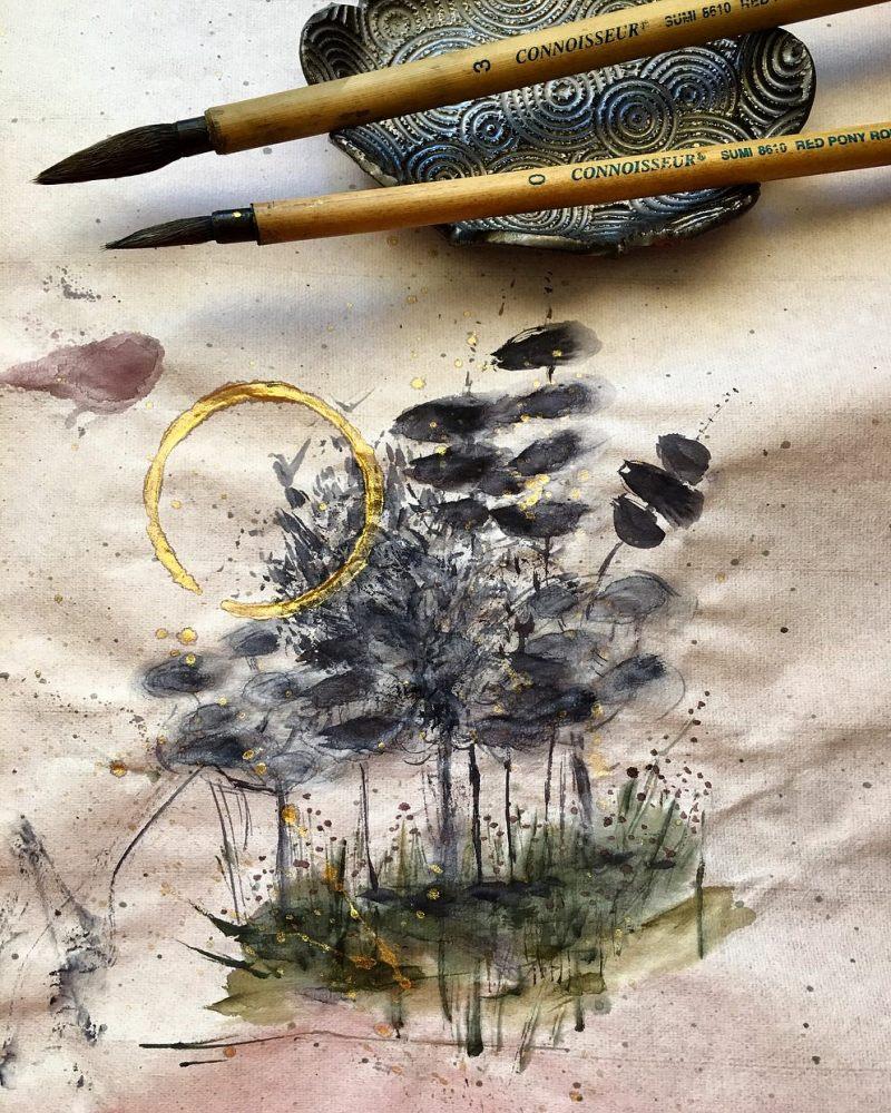 Boku-Undo E-Sumi Watercolor Paint 6 Colors Set watercolour box painting by jessica seacrest on rice paper, Boku Undo Sumi-e, Sumi