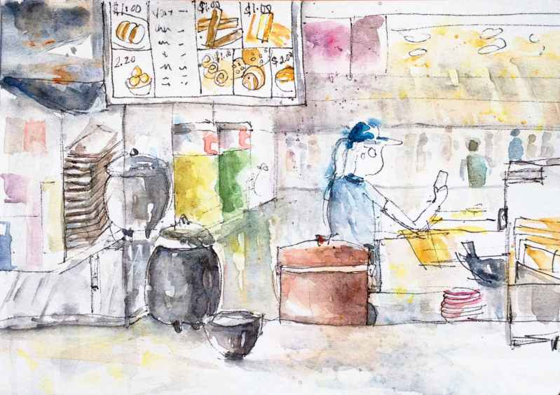 #WorldWatercolorGroup - Watercolor by Elisa Choi Ang - fast food - #doodlewash