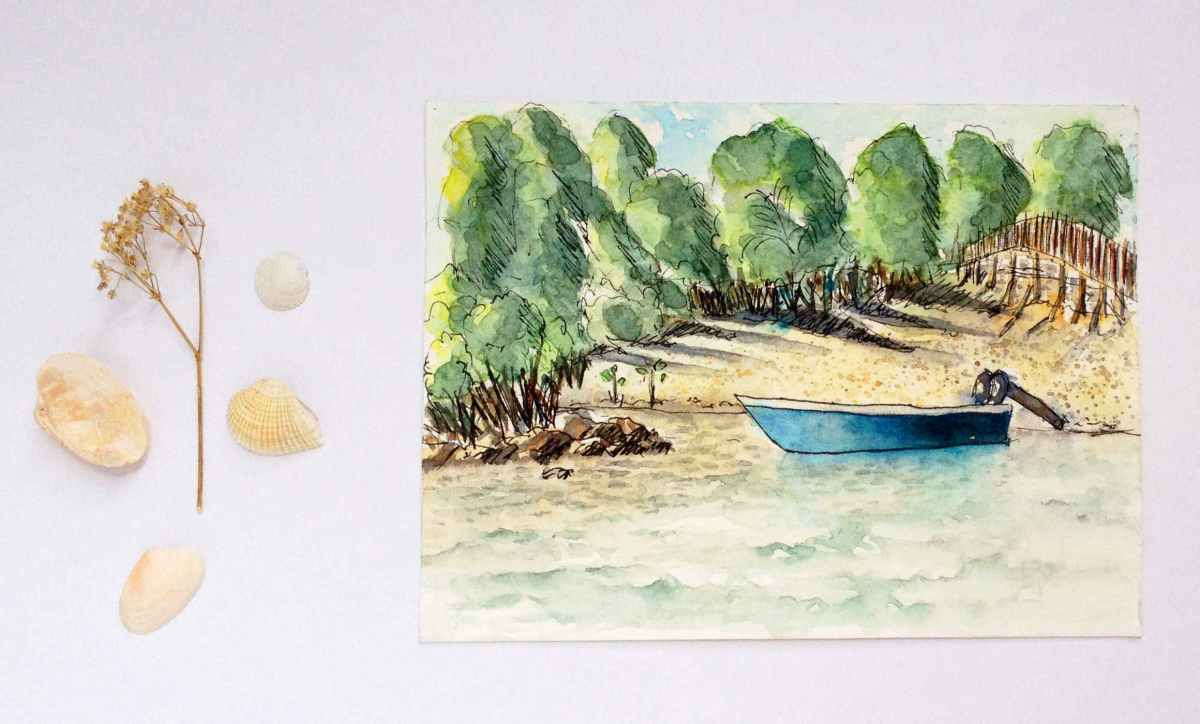 #WorldWatercolorGroup - Watercolor by Elisa Choi Ang - landscape with boat - #doodlewash