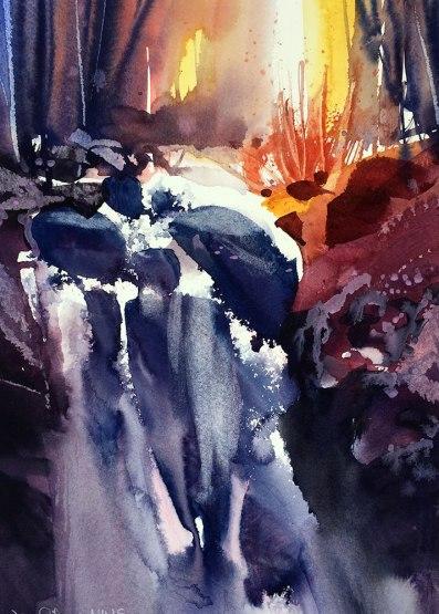 #WorldWatercolorGroup - Watercolor Painting by Joe Cibere - Sunrise Waterfall - #doodlewash