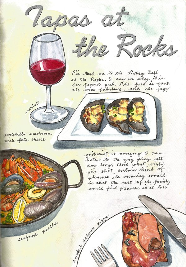 #WorldWatercolorGroup - Watercolor by Consuelo Diaz of Tapas at the Rocks - #doodlewash