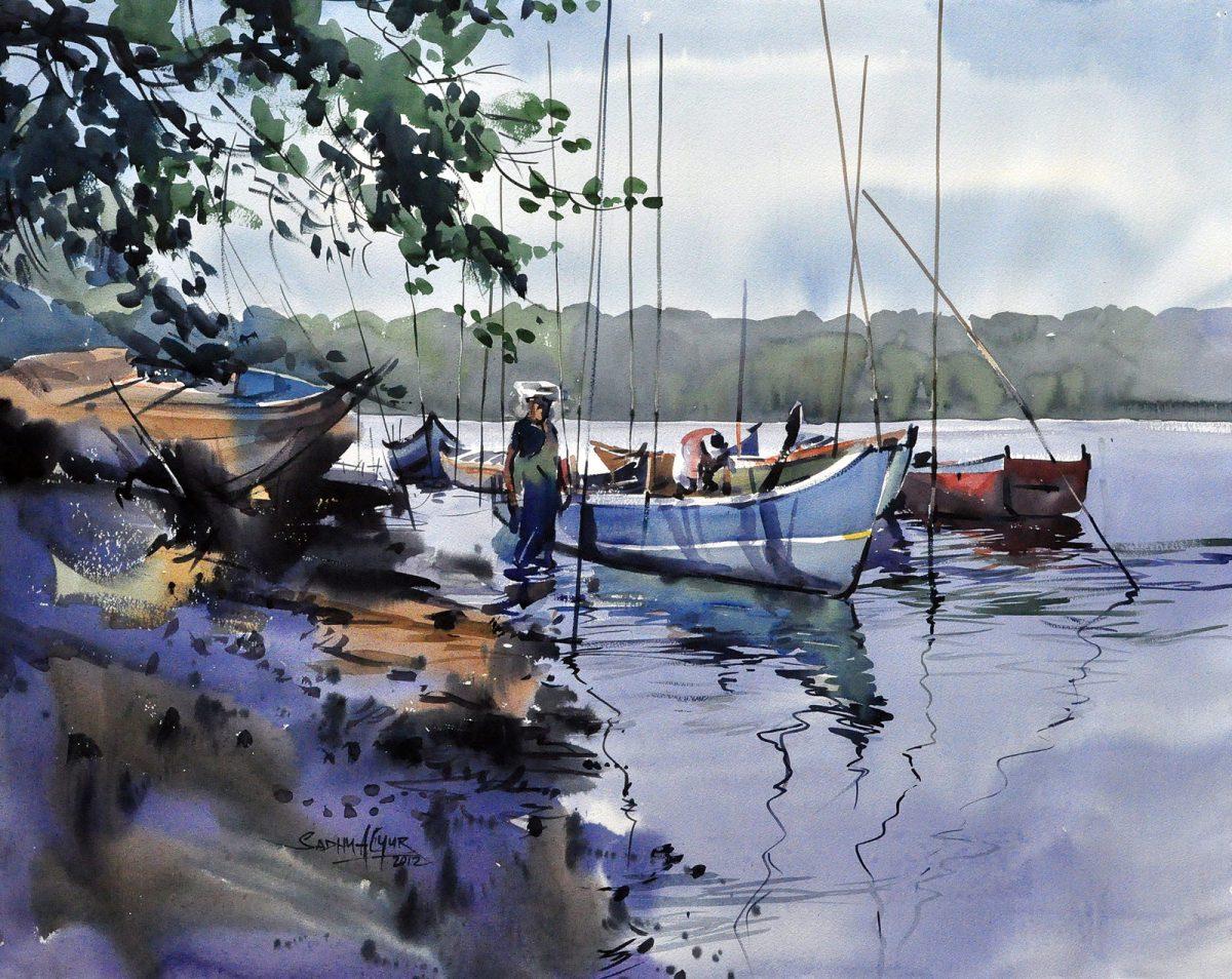#WorldWatercolorGroup - Watercolor painting by Sadhu Aliyur - boats - #doodlewash