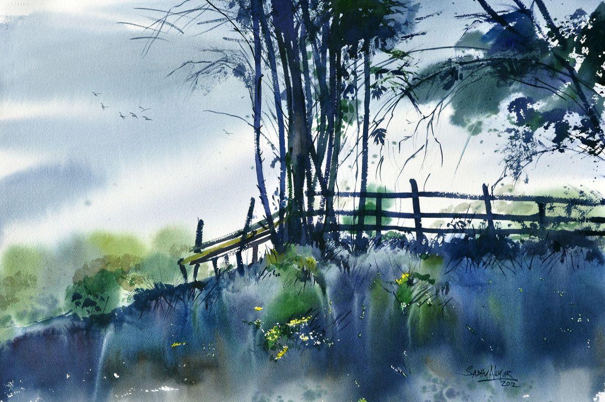 #WorldWatercolorGroup - Watercolor painting by Sadhu Aliyur - landscape - #doodlewash