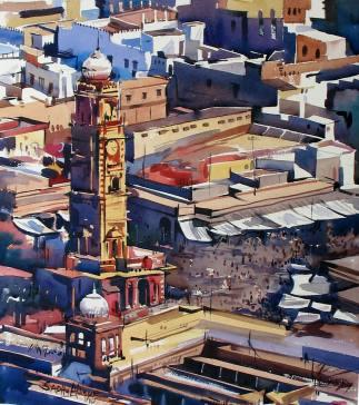 #WorldWatercolorGroup - Watercolor painting by Sadhu Aliyur - aerial view of village - #doodlewash