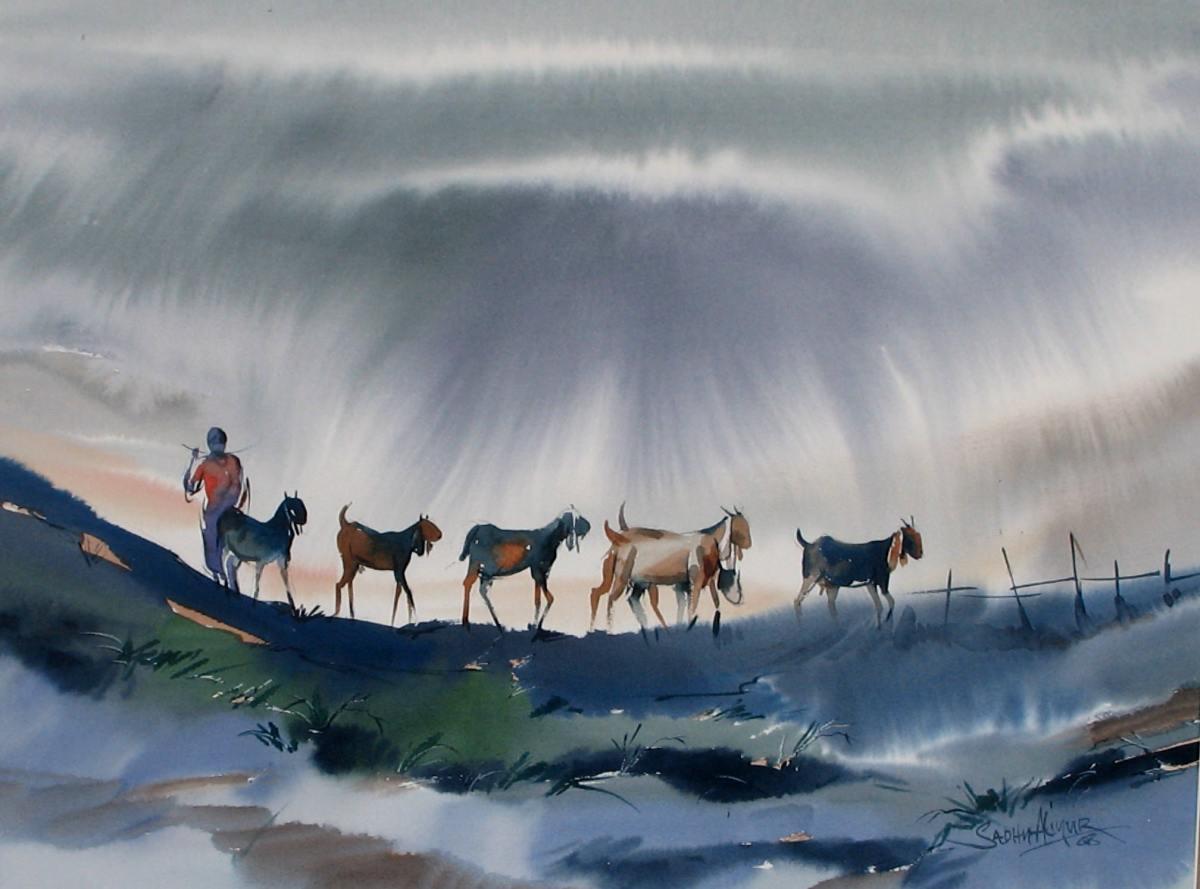 #WorldWatercolorGroup - Watercolor painting by Sadhu Aliyur - goats - #doodlewash