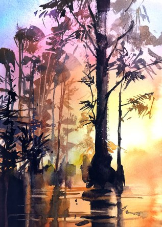 #WorldWatercolorGroup - Watercolor Painting by Joe Cibere - Wetlands Sunrise - #doodlewash