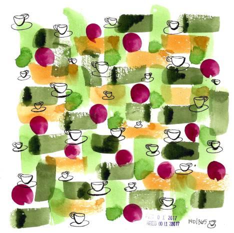 #WorldWatercolorGroup - Watercolor by Cynthia Morris - coffee cups pattern - #doodlewash