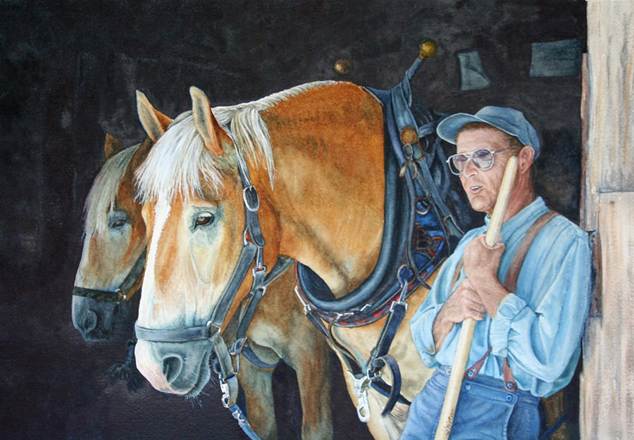 #WorldWatercolorGroup - Watercolor painting by Deb Watson - man and horses - #doodlewash
