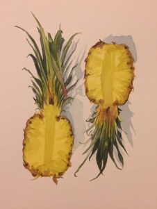 #WorldWatercolorGroup - Watercolour by Ian Probert - pineapples - #doodlewash