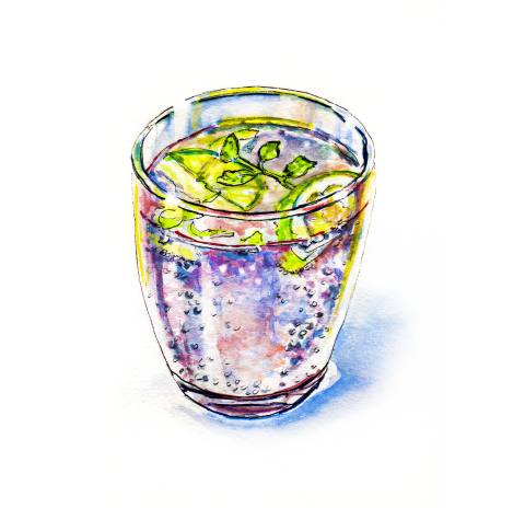Day 18 - #WorldWatercolorGroup - Magical Thinking - Colorful Drink In A Glass - #doodlewash