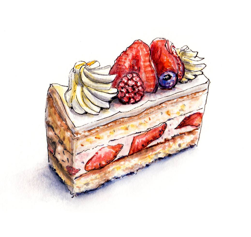 Day 19 - #WorldWatercolorGroup - Strawberry Sponge Cake Slice - #doodlewash