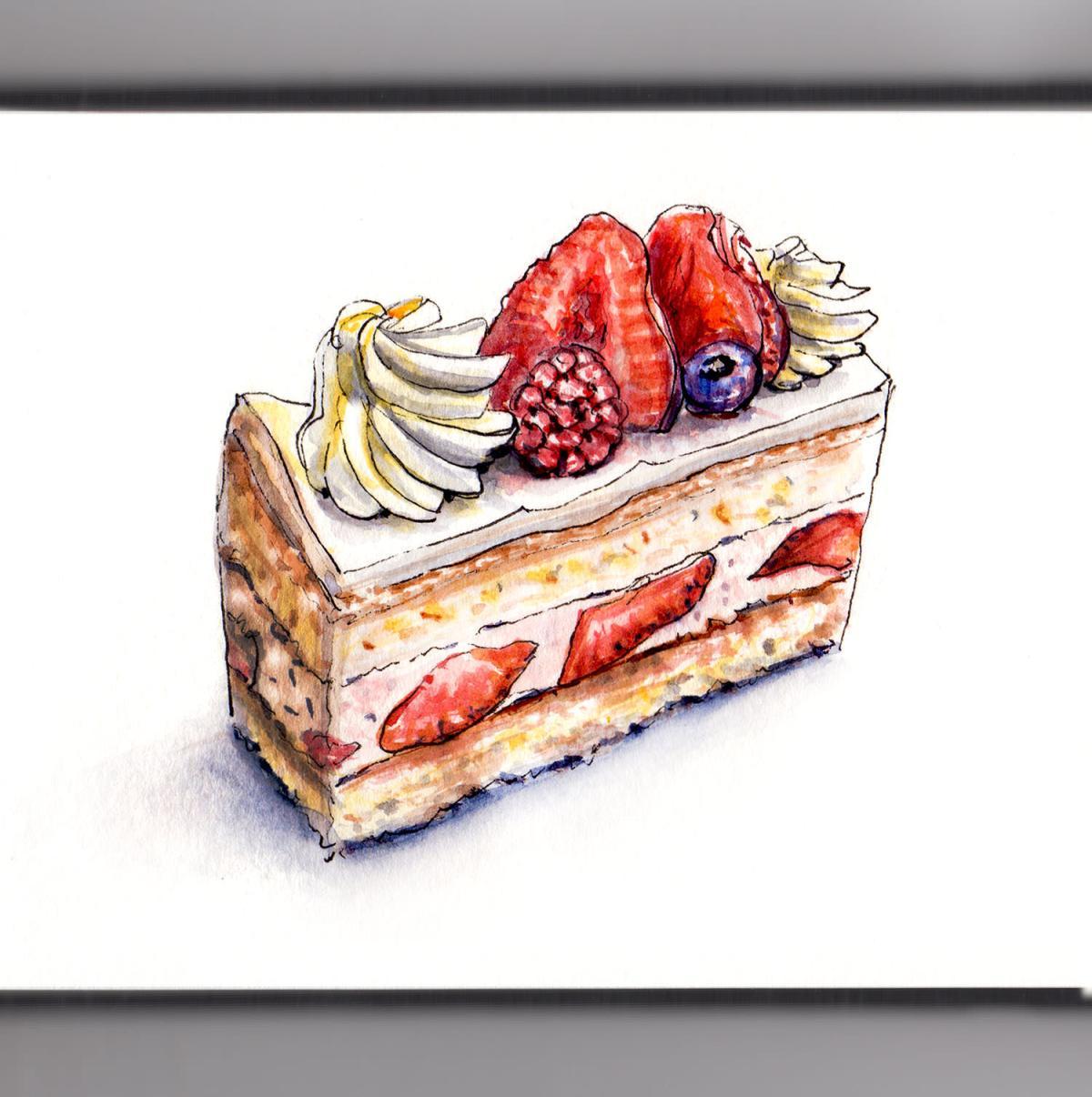 Day 19 - #WorldWatercolorGroup - Strawberry Sponge Cake Slice - #doodlewash