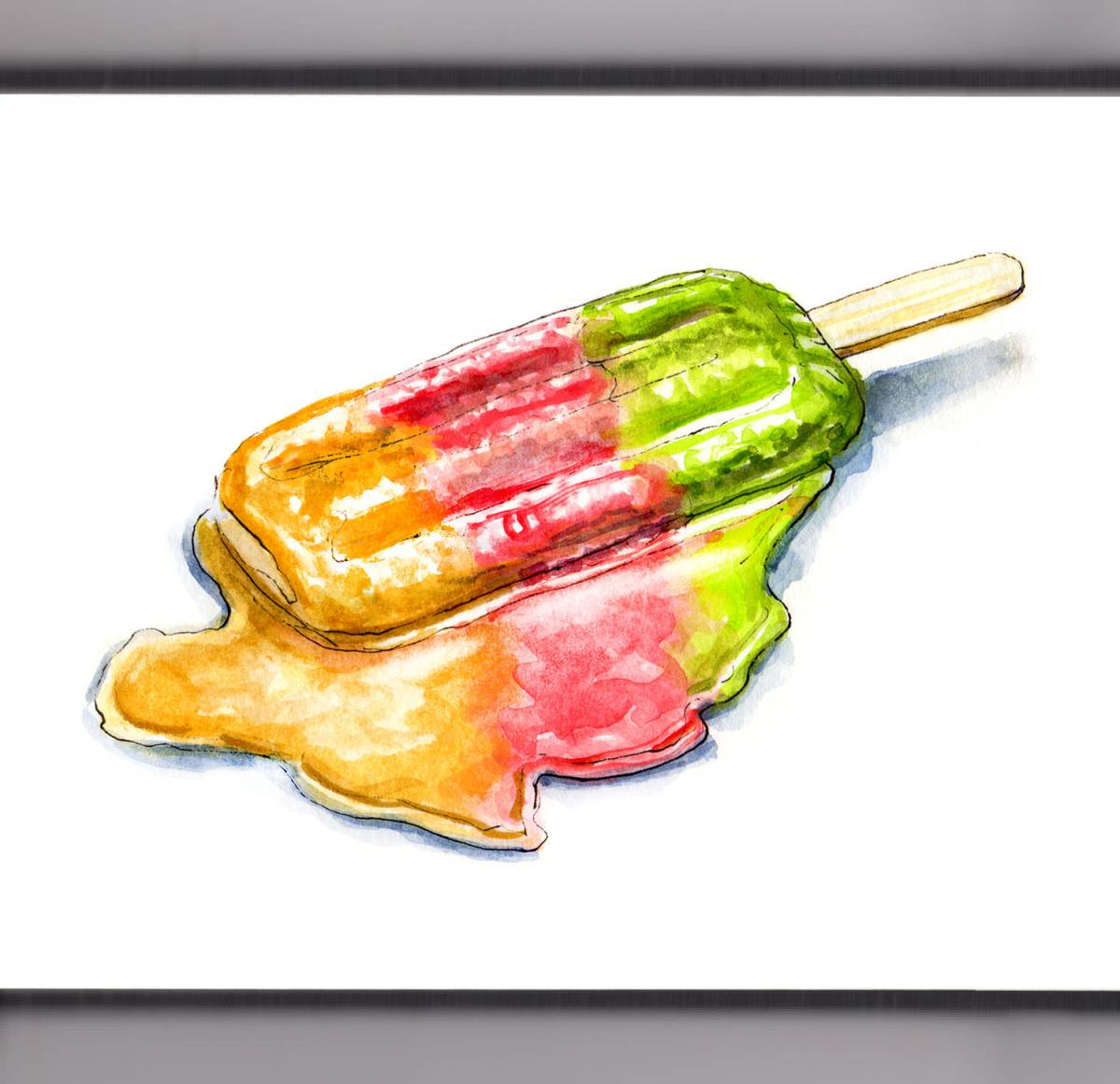 Day 25 - #WorldWatercolorGroup - Melting Popsicle multiple colors and flavors - #doodlewash