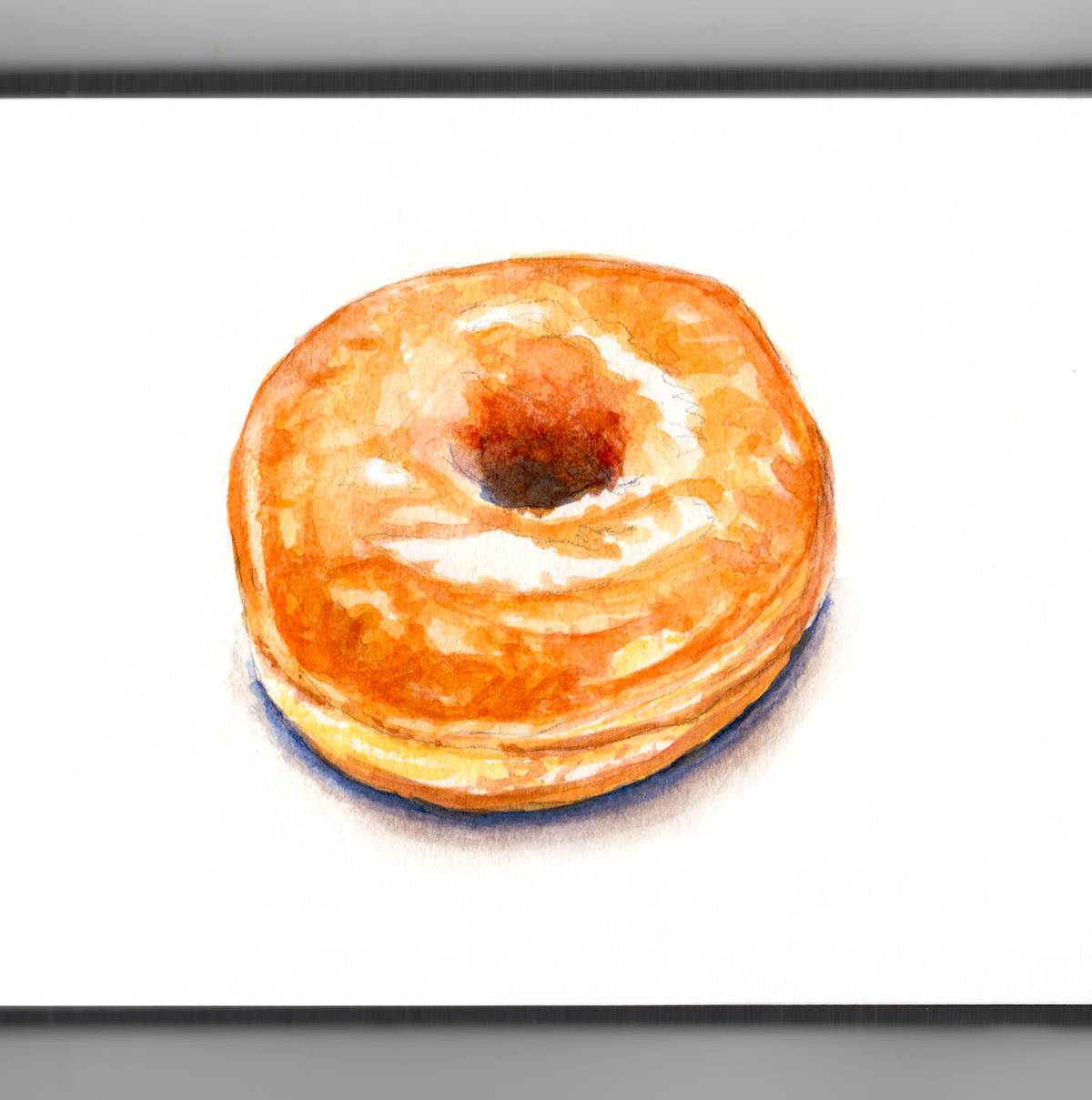 Day 30 - #WorldWatercolorGroup - A Simple Glazed Donut Watercolor - #doodlewash