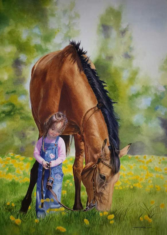 #WorldWatercolorGroup - Watercolor by Susan Walsh Harper - Forever Friends - little girl and horse - #doodlewash