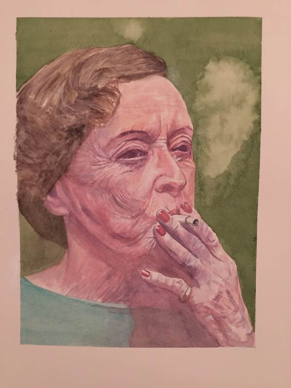 #WorldWatercolorGroup - Watercolour by Ian Probert - portrait of woman smoking - #doodlewash