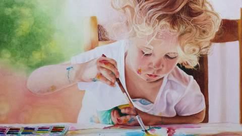 #WorldWatercolorGroup - Watercolor by Susan Walsh Harper - L'Artiste - little girl painting watercolor - #doodlewash