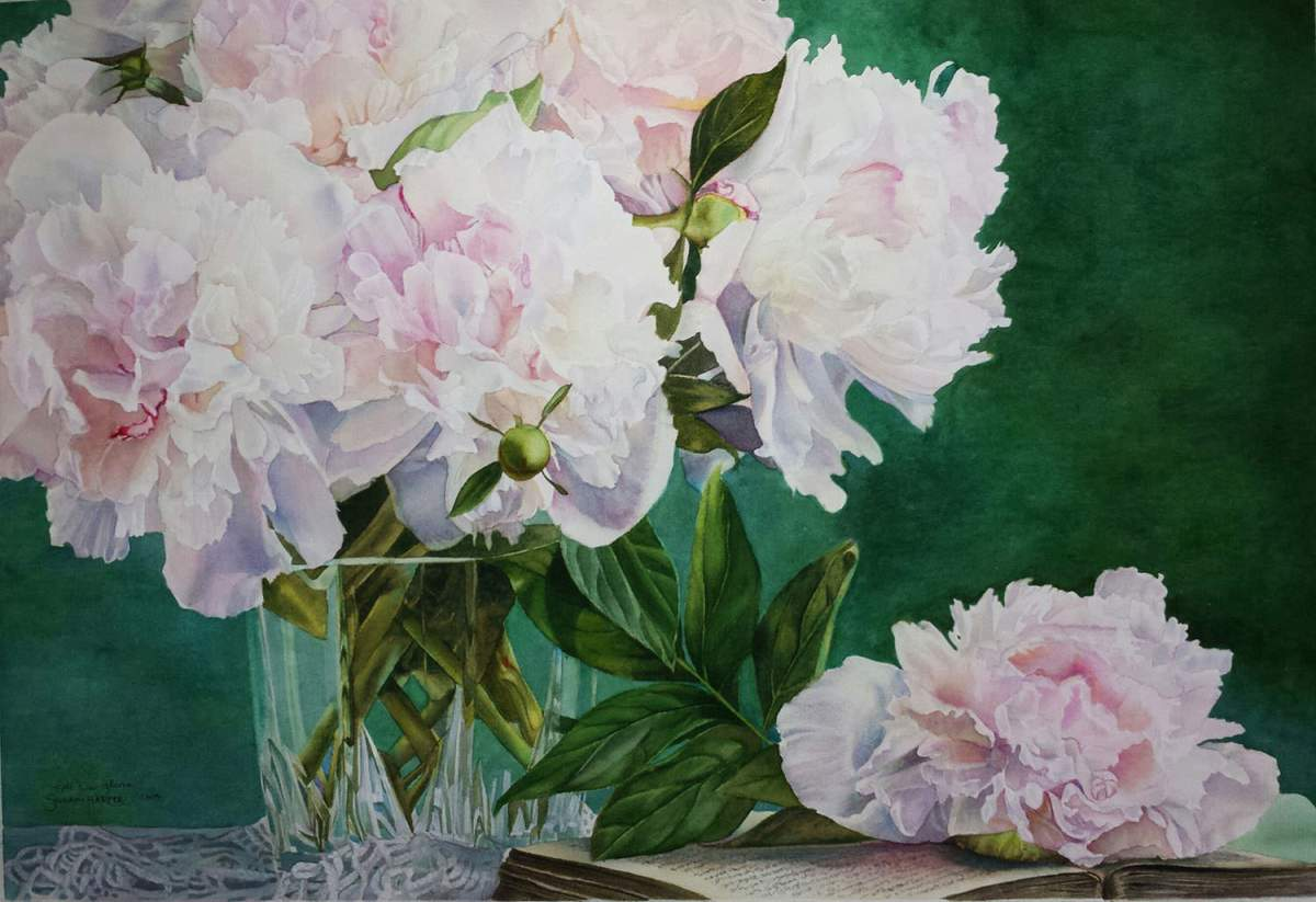 #WorldWatercolorGroup - Watercolor by Susan Walsh Harper - Peonies - #doodlewash