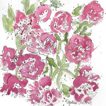 #WorldWatercolorGroup - Watercolor by Cynthia Morris - Peonies - #doodlewash