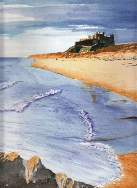 #WorldWatercolorGroup - Watercolor by Jan Purves - Bamburgh Castle - #doodlewash