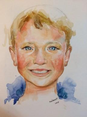 #WorldWatercolorGroup - Watercolor by Naila Hazell - Portrait of a Boy - #doodlewash
