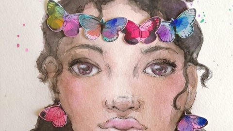 #WorldWatercolorGroup - Watercolor painting by Danielle Mack - butterfly crown - #doodlewash